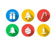 Plan symbolsuppsättning av jul stock illustrationer