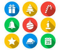 Plan symbolsuppsättning av jul royaltyfri illustrationer