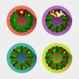 Plan symbolsuppsättning av julkransen med lång skugga Royaltyfria Bilder