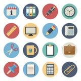 Plan symbolsuppsättning av kontorstillförsel Stock Illustrationer