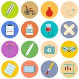 Plan symbolsuppsättning av läkarundersökninghjälpmedel och sjukvårdutrustning Royaltyfri Fotografi