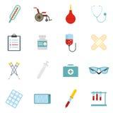 Plan symbolsuppsättning av läkarundersökninghjälpmedel och sjukvårdutrustning Arkivbild
