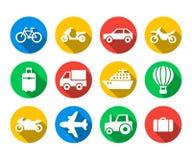 Plan symbolsuppsättning av lopp och transport Arkivbilder