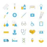 Plan symbolsuppsättning av mediciner, diagnostik, behandling, sjukvård Arkivfoton