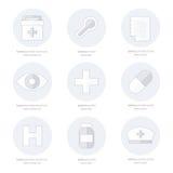 Plan symbolsuppsättning av medicinska hjälpmedel, linje stil stock illustrationer