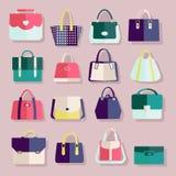 Plan symbolsuppsättning av modepåsar Arkivfoton