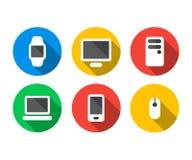 Plan symbolsuppsättning av teknologiapparater stock illustrationer
