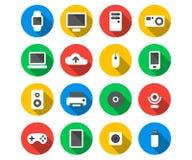 Plan symbolsuppsättning av teknologiapparater Fotografering för Bildbyråer