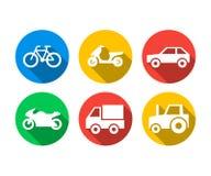 Plan symbolsuppsättning av transportmedel stock illustrationer