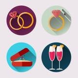 Plan symbolsuppsättning av vigselringen Packe för dag för valentin` s Arkivfoton