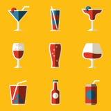 Plan symbolsuppsättning. Drink. Coctail Fotografering för Bildbyråer