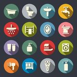Plan symbolsuppsättning för badrum stock illustrationer