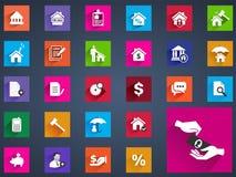 Plan symbolsuppsättning för fastighet av husvärderingkommissionen Royaltyfria Bilder
