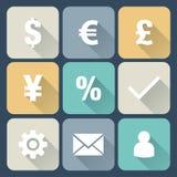 Plan symbolsuppsättning för finans. Royaltyfri Bild