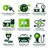 Plan symbolsuppsättning för grön ecoelbil Royaltyfria Bilder