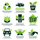 Plan symbolsuppsättning för grön econatur Arkivbilder