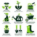 Plan symbolsuppsättning för grön ecoträdgård Arkivbilder