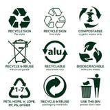 Plan symbolsuppsättning för grönt förpacka för eco Royaltyfri Fotografi
