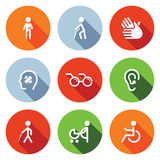 Plan symbolsuppsättning för handikapp Arkivbild