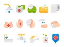 Plan symbolsuppsättning för hygien stock illustrationer