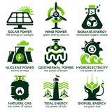 Plan symbolsuppsättning för källor för alternativ energi för eco vänliga Royaltyfri Fotografi