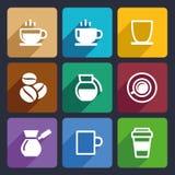 Plan symbolsuppsättning 43 för kaffe vektor illustrationer