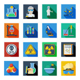 Plan symbolsuppsättning för kemi i färgrika fyrkanter royaltyfri illustrationer