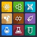 Plan symbolsuppsättning 50 för kemikalie vektor illustrationer