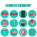 Plan symbolsuppsättning för konfekt vektor illustrationer