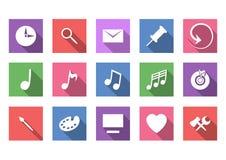 Plan symbolsuppsättning för konst och för musikal stock illustrationer