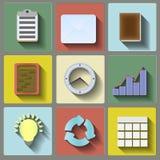 Plan symbolsuppsättning för kontor Royaltyfri Fotografi