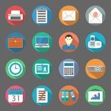 Plan symbolsuppsättning för kontor Arkivfoton