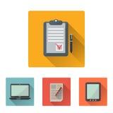 Plan symbolsuppsättning för kontor med lång skugga stock illustrationer