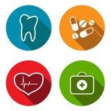 Plan symbolsuppsättning för läkarundersökning Fotografering för Bildbyråer