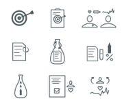 Plan symbolsuppsättning för läkarundersökning Royaltyfri Bild