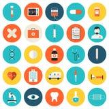 Plan symbolsuppsättning för läkarundersökning och för sjukvård Royaltyfria Foton