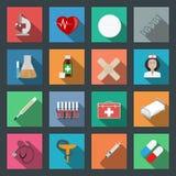 Plan symbolsuppsättning för medicin Arkivfoton