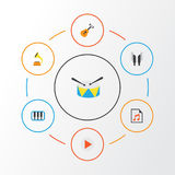 Plan symbolsuppsättning för musik Samling av akustiskt, knapp, skalm och andra beståndsdelar Inkluderar också symboler liksom vektor illustrationer