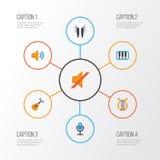 Plan symbolsuppsättning för musik Samling av akustiskt, skalm, ljudsignal och andra beståndsdelar Inkluderar också symboler likso royaltyfri illustrationer