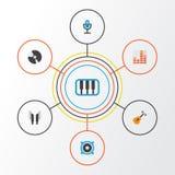 Plan symbolsuppsättning för musik Samling av att kontrollera, högtalare, skalm och andra beståndsdelar Inkluderar också symboler  vektor illustrationer