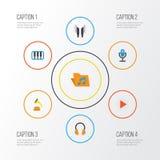 Plan symbolsuppsättning för musik Samling av skalm, öraMuffs, knapp och andra beståndsdelar Inkluderar också symboler liksom royaltyfri illustrationer
