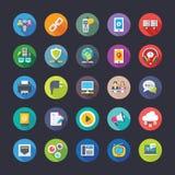 Plan symbolsuppsättning för nätverk och för kommunikation Royaltyfri Bild