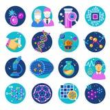 Plan symbolsuppsättning för nanoteknik stock illustrationer
