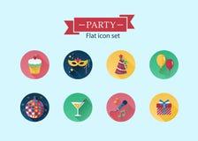Plan symbolsuppsättning för parti Royaltyfri Illustrationer