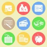 Plan symbolsuppsättning för pengar Arkivbild