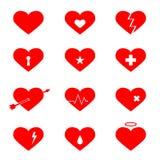 Plan symbolsuppsättning för röda hjärtor stock illustrationer