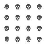 Plan symbolsuppsättning för skalle vektor illustrationer