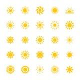 Plan symbolsuppsättning för sol stock illustrationer