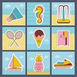Plan symbolsuppsättning för sommar Arkivfoton