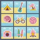 Plan symbolsuppsättning för sommar Arkivbild